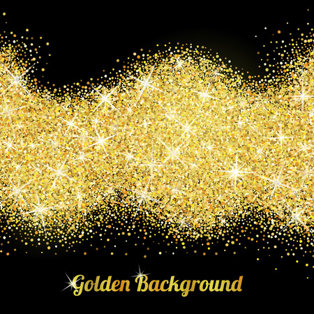 black gold: Gold glitter texture isolated on black background. Illustration