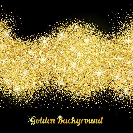 Goud glitter textuur geïsoleerd op een zwarte achtergrond. Vector Illustratie