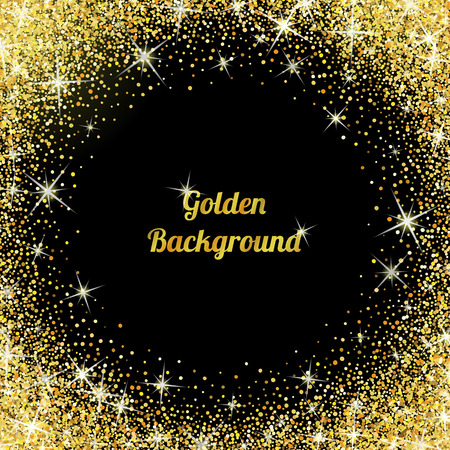 Gold glitter texture isolated on black background. Illustration