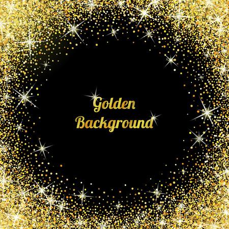 Goud glitter textuur geïsoleerd op een zwarte achtergrond.
