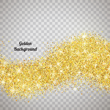 Gold glitter texture isolated on transparent background. 向量圖像