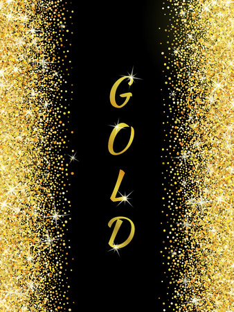 sequin: Gold glitter texture isolated on black background. Vector illustration for golden shimmer background. Sparkle sequin tinsel yellow bling. For sale gift card, brightly vibrant certificate, voucher Illustration