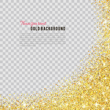 Gold glitter texture isolated on transparent background. Ilustração