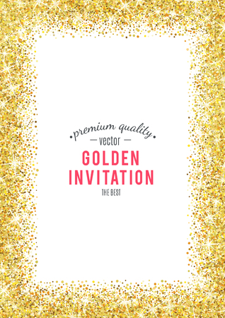metallic border: Gold glitter texture isolated on white background.
