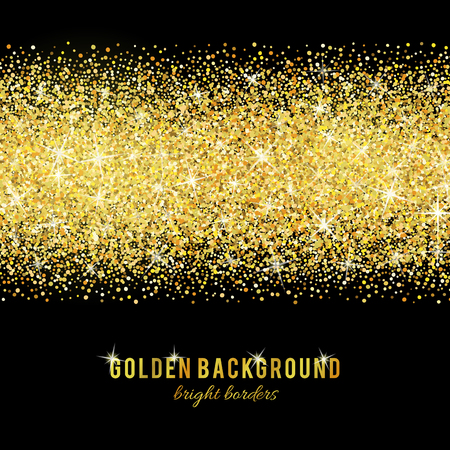 Gold glitter texture isolated on black background. Vectores