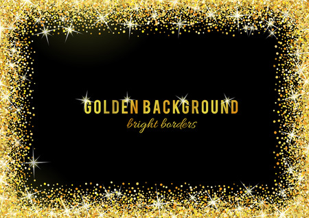 shiny black: Gold glitter texture isolated on black background. Illustration