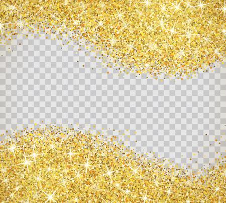 Gold glitter texture isolated on transparent background. Stock Illustratie