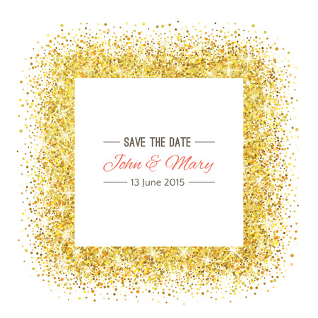 Perfect wedding template with golden confetti theme. Ideal for Save The Date, baby shower, mothers day, valentines day, birthday cards, invitations.