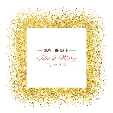 Perfekte Hochzeit Vorlage mit goldenen Konfetti Thema. Ideal für Abwehr das Datum, Baby-Dusche, muttertag, valentinstag, Geburtstagskarten, Einladungen. Standard-Bild - 53524099