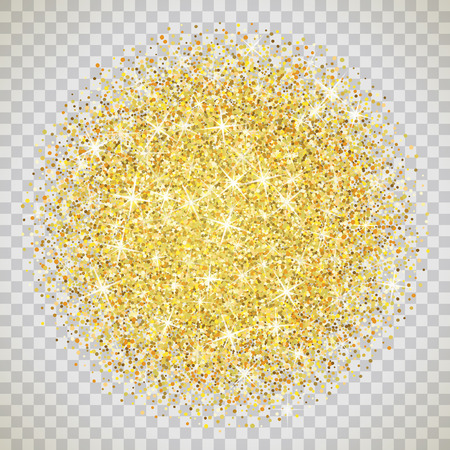 bunch: Gold glitter texture isolated on transparent background. Illustration