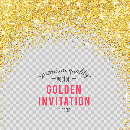 Gold glitter texture isolated on transparent background. Stock Illustratie