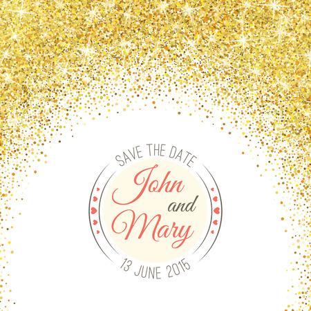 Perfect wedding template with golden confetti theme. Vettoriali