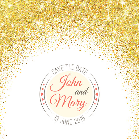 Perfect wedding template with golden confetti theme. Vectores