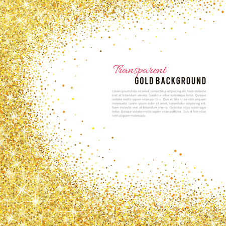 background frame: Gold glitter texture isolated on white background.