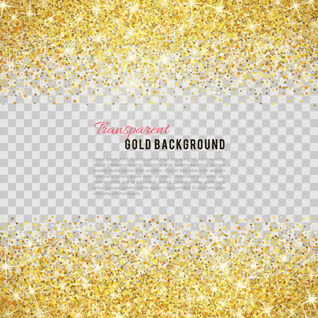 bright borders: Gold glitter texture isolated on transparent background. Illustration