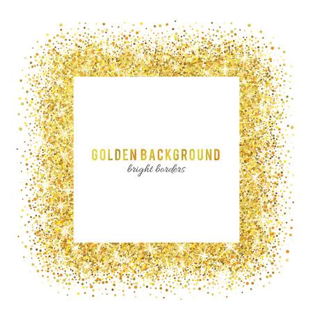 frame border: Gold glitter texture isolated on white background.