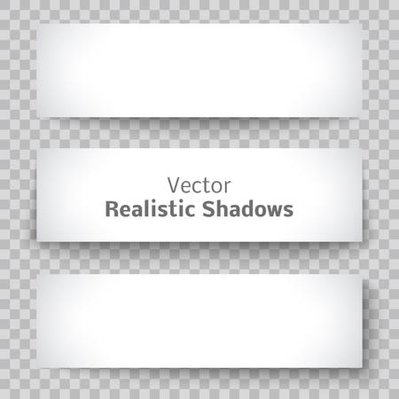 Conjunto de hoja de pancarta de papel en blanco con elementos de diseño material de sombra para la publicidad y promoción aislada en el fondo transparente.