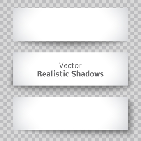 shadow effect: Set of blank banner sheet of paper with shadow material design element for advertising and promotional isolated on transparent background.