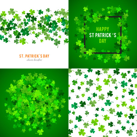celtic frame: Set of St Patricks Day backgrounds. Vector illustration for lucky spring design with shamrock. Green clover wave border isolated on green background. Ireland symbol pattern. Irish header for web site.