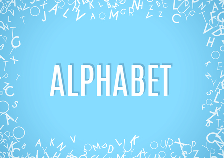grammar: Abstract white alphabet ornament frame isolated on blue background. Vector illustration for education writing design. Random letters flying around. Alphabet book concept for grammar school Illustration