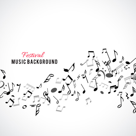 abstract music: Abstract musical frame and border with black notes on white background. Vector Illustration for music design. Modern pop  concept art melody banner. Sound key decoration with music symbol sign. Illustration