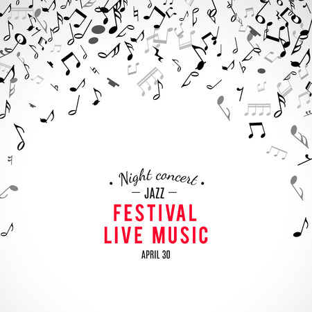 abstract melody: Abstract musical concert flyer with black notes on white background. Vector Illustration for music design. Modern pop  concept art melody banner. Sound key decoration with music symbol sign.