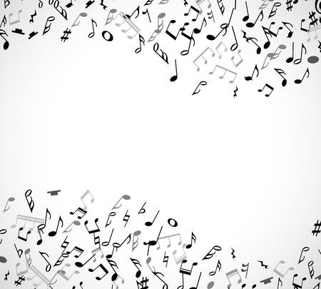 clave de fa: marco musical abstracta y la frontera con notas negras sobre fondo blanco. Ilustración del vector para el diseño de la música. Moderno concepto emergente arte bandera melodía. Sonido decoración tecla con el signo de símbolo de la música.