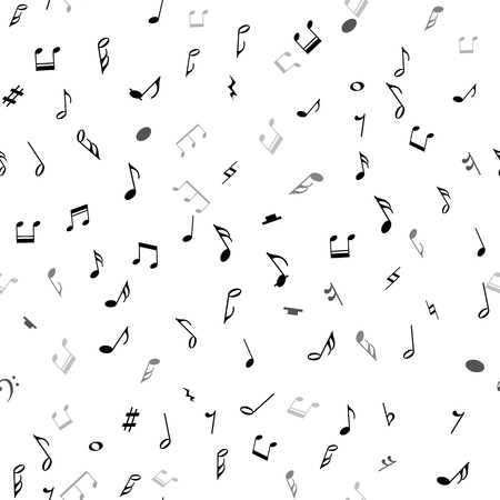 music symbol: Abstract musical seamless pattern with black notes on white background. Vector Illustration for music design. Modern pop  concept art melody banner. Sound key decoration with music symbol sign.