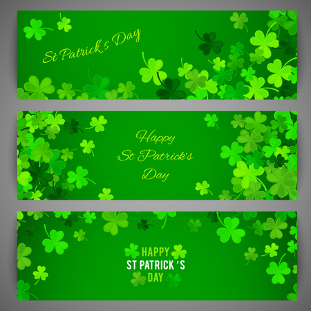 clover banners: Set of St Patricks Day banners. Vector illustration for lucky spring design with shamrock. Green clover wave border isolated on green background. Ireland symbol pattern. Irish header for web site.