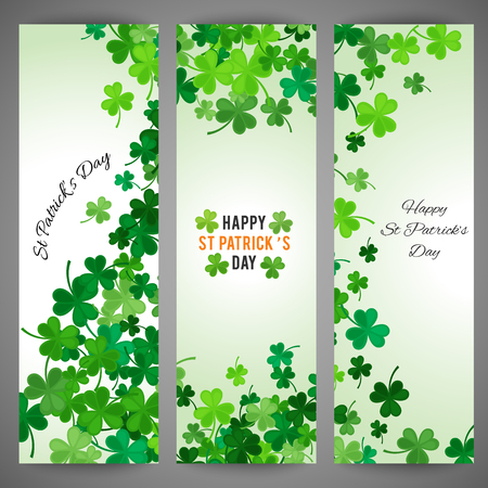 spring green: Set of St Patricks Day banners. Vector illustration for lucky spring design with shamrock. Green clover wave border isolated on green background. Ireland symbol pattern. Irish header for web site.