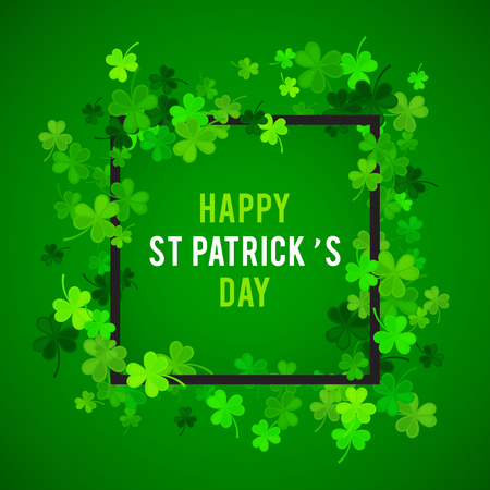 St Patricks Day background. Vector illustration for lucky spring design with shamrock. Green clover border and square frame isolated on green background. Ireland symbol pattern. Irish header for web. Illustration