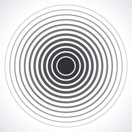Concentric circle elements. Vector illustration for sound wave. Black and white color ring. Circle spin target. Radio station signal. Center minimal radial ripple line outline abstractionism 向量圖像