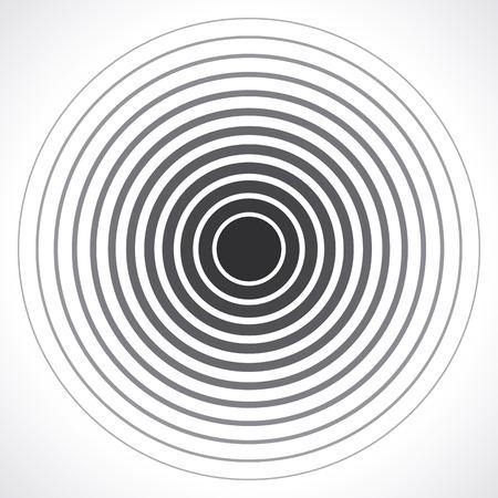 Elementi cerchio concentrico. Illustrazione di vettore per onda sonora. anello di colore bianco e nero. Circle bersaglio rotazione. segnale della stazione radio. Centro minima radiale linea ondulazione astrattismo contorno