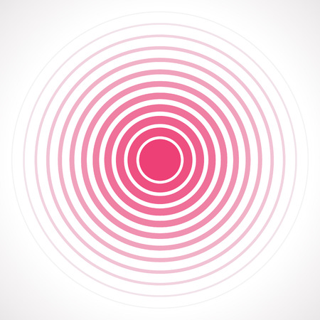 Concentric circle elements. Vector illustration for sound wave. Red and white color ring. Circle spin target. Radio station signal. Center minimal radial ripple line outline abstractionism Vettoriali