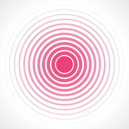 Konzentrische Kreis-Elemente. Vektor-Illustration für Schallwelle. Rote und weiße Farbring. Kreis Spin Ziel. Radiosender Signal. Mitte minimal Umriss radiale Welligkeitsleitung abstractionism