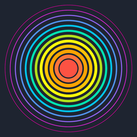 abstractionism: Concentric circle elements. Vector illustration for sound wave. Different color ring. Circle spin target. Radio station signal. Center minimal radial ripple line outline abstractionism