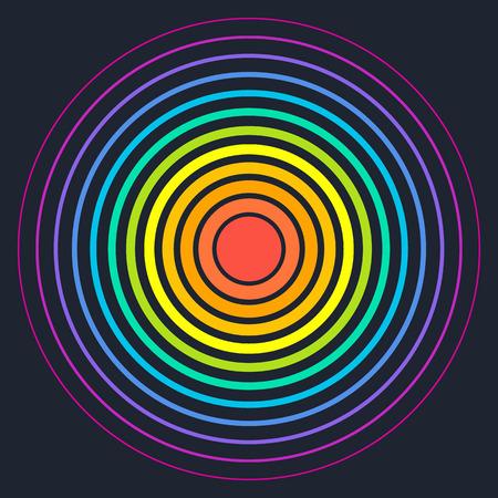 Concentrische cirkel elementen. Vector illustratie voor geluidsgolf. Verschillende kleuren ring. Cirkel draai doel. Radiozender signaal. Center minimale radiale rimpel lijn overzicht abstractionism