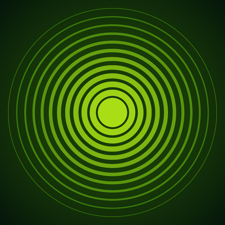 color ring: Radar screen concentric circle elements. Vector illustration for sound wave. Black and green color ring. Circle spin target. Radio station signal. Center minimal radial ripple line outline abstraction