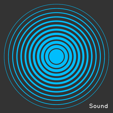 Radar screen concentric circle elements. Vector illustration for sound wave. Black and blue color ring. Circle spin target. Radio station signal. Center minimal radial ripple line outline abstraction