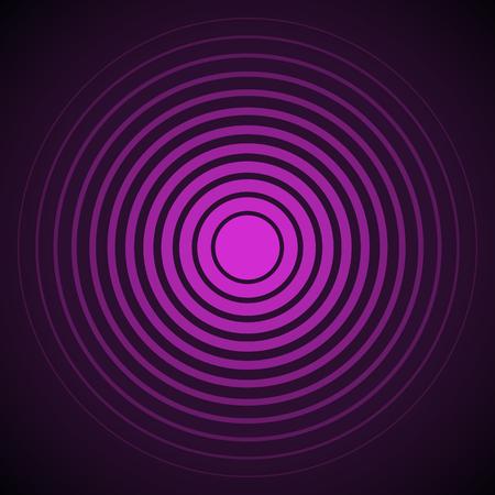 sonido: elementos del círculo concéntrico pantalla de radar. Ilustración del vector para la onda de sonido. anillo y negro color púrpura. objetivo giro círculo. Centro de señal emisora ??radial mínima línea de contorno rizado de la abstracción