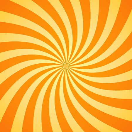 orange swirl: Swirling radial pattern background. Vector illustration for swirl design. Vortex starburst spiral twirl square. Helix rotation rays. Converging psychadelic scalable stripes. Fun sun light beams.