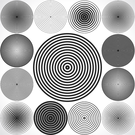 grayscale: Set of concentric circle elements. Illustration