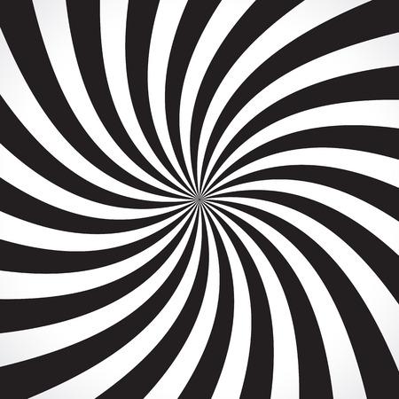 Fundo do teste padrão radial de roda. Ilustração do vetor para o projeto do redemoinho. Vortex starburst quadrado espiral giro. Helix rotação raios. Convergindo listras escaláveis ??psychadelic. Diversão vigas luz do sol. Ilustração