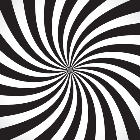 swirl background: Swirling radial pattern background. Vector illustration for swirl design. Vortex starburst spiral twirl square. Helix rotation rays. Converging psychadelic scalable stripes. Fun sun light beams.