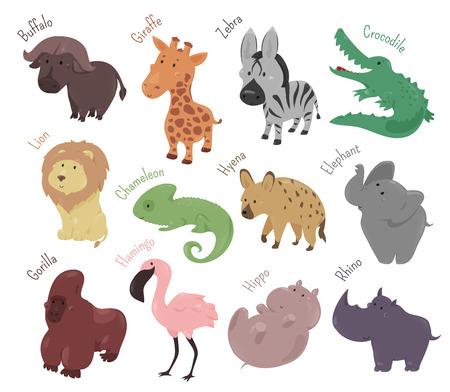Conjunto de animales lindos de la historieta. zoológico salvaje sabana divertido.
