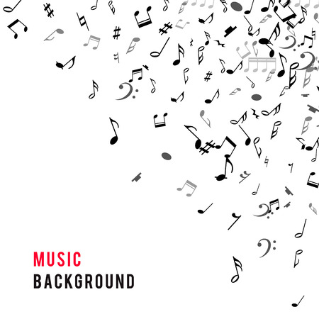 bass clef: marco musical abstracta y la frontera con notas negras sobre fondo blanco. Ilustración del vector para el diseño de la música. Moderno concepto emergente arte bandera melodía. Sonido decoración tecla con el signo de símbolo de la música.