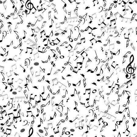 clave de fa: Modelo inconsútil abstracto con notas musicales negras sobre fondo blanco. Ilustración del vector para el diseño de la música. Moderno concepto emergente arte bandera melodía. Sonido decoración tecla con el signo de símbolo de la música. Vectores