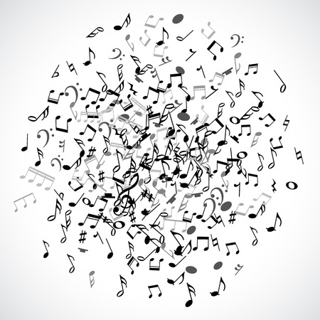 bass clef: Elemento abstracto de puntos musical con notas negras sobre fondo blanco. Ilustración del vector para el diseño de la música. Moderno concepto emergente arte bandera melodía. Sonido decoración tecla con el signo de símbolo de la música. Vectores