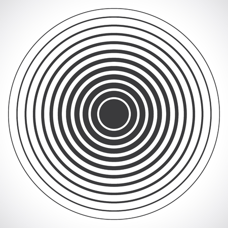 Concentric circle elements. Vector illustration for sound wave. Black and white color ring. Circle spin target. Radio station signal. Center minimal radial ripple line outline abstractionism Vettoriali