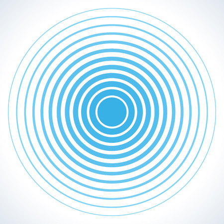 elementos del círculo concéntrico pantalla de radar. Ilustración del vector para la onda de sonido. anillo de color blanco y azul. objetivo giro círculo. señal de la emisora ??de radio. Centro mínima ondulación línea de contorno radial abstracción Ilustración de vector